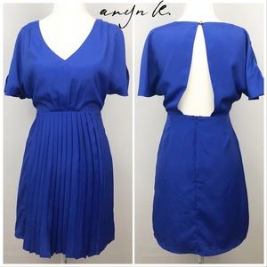 Aryn K cobalt blue pleated cut-out back dress XS